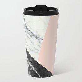 Black and white marble with pantone pale dogwood Travel Mug