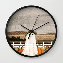 There's a Ghost in the Pumpkins Patch Again... Wall Clock