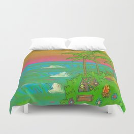 VW Beatle Bug Surf Paradise Adventure Duvet Cover