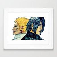 sasuke Framed Art Prints featuring Naruto & Sasuke  by Aileen