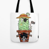luffy Tote Bags featuring Cactus Luffy by Vania Pietronigro