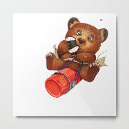 A little bear having a picnic lunch Metal Print