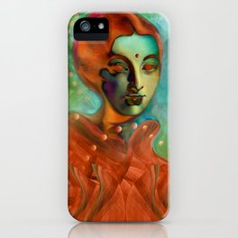 """""""Exotic woman in green and orange tropical jungle"""" iPhone Case"""