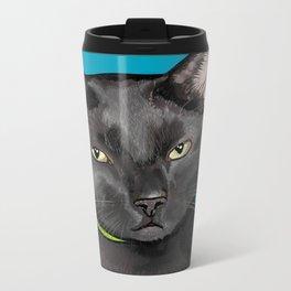 Black Cat Portrait Metal Travel Mug