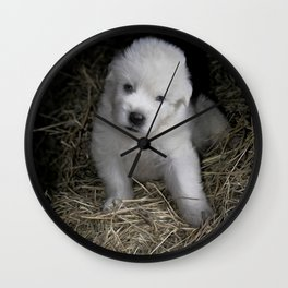 Great Pyrenees Puppy Wall Clock