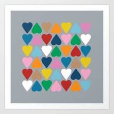 Up and Down Hearts on Grey Art Print