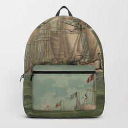 Vintage Fishing Fleet Painting (1882) Backpack
