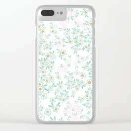 Forget me nots on white - in memory... Clear iPhone Case