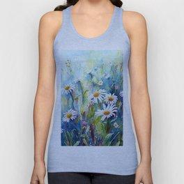 Watercolor Daisy Field Unisex Tank Top