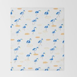 Blue Summer Flamingos Throw Blanket