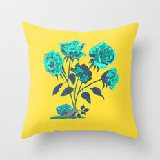 Snails N' Roses Throw Pillow
