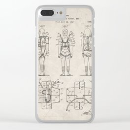 Parachute Pack Patent - Sky Diving Art - Antique Clear iPhone Case