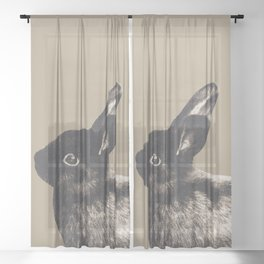 Little Rabbit on Sepia #1 #decor #art #society6 Sheer Curtain