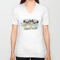 pugs V-neck T-shirts featuring Cute pugs by Anna Syroed