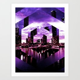 Beautiful purple geometric brisbane river print Art Print
