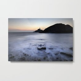Mumbles lighthouse in silhouette Metal Print