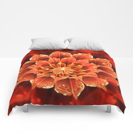 Red Dahlia Fractal Flower with Beautiful Bokeh (Vivid Crimson) Comforters