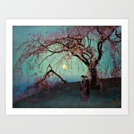 Hiroshi Yoshida - Kumoi Cherry Trees - Japanese Vintage Ukiyo-e Woodblock Painting Art Print