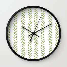 Matcha Greens - nature spring leaves green pattern Wall Clock