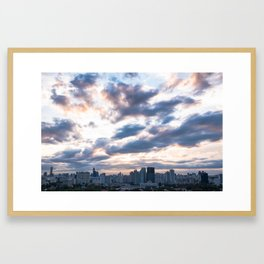 Seoul skyline at Dusk, South Korea Framed Art Print
