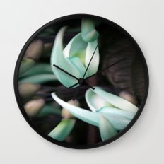 Minty Leaves Wall Clock
