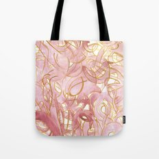 Outlined Scribbles - Pink and Gold Tote Bag