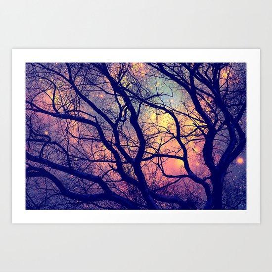 Black Trees Deep Pastels Space Art Print