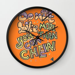 Bite and Chew Caution Wall Clock