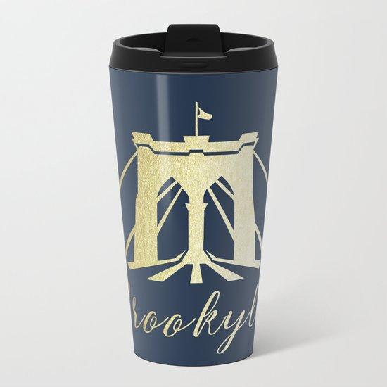 Brooklyn Bridge in Gold Metal Travel Mug