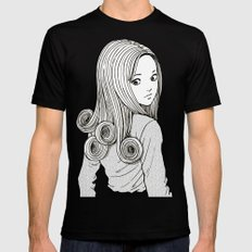 Kirie Goshima Spiral Hair - Uzumaki  (Junji Ito) Black Mens Fitted Tee LARGE
