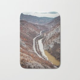 Beautiful picture of the canyon in Serbia. Dramatic sky and mountains Bath Mat