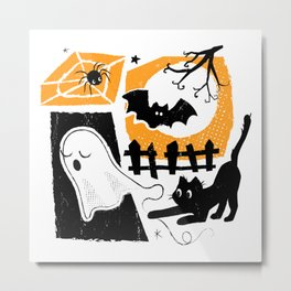Beware of the Cat on Halloween Metal Print