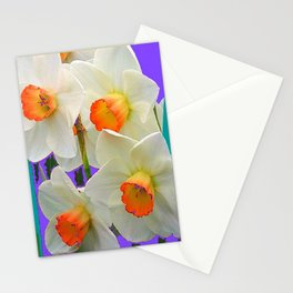 WHITE-GOLD NARCISSUS FLOWERS LAVENDER GARDEN Stationery Cards