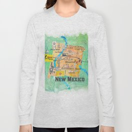 USA New Mexico State Illustrated Travel Poster Favorite Map Long Sleeve T-shirt