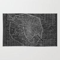 paris map Area & Throw Rugs featuring Paris map by Le petit Archiviste
