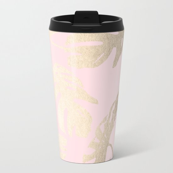 Simply Tropical Palm Leaves White Gold Sands on Flamingo Pink Metal Travel Mug