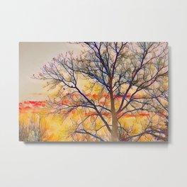Sunset Tree Digital Watercolour Metal Print