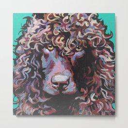 Irish Water Spaniel Fun Dog portrait bright colorful Pop Art painting by LEA Metal Print