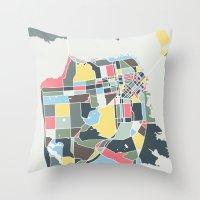 san francisco map Throw Pillows featuring San Francisco. by Studio Tesouro