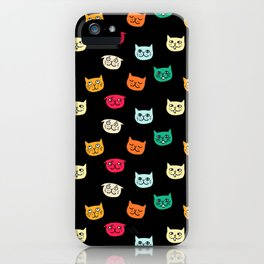 Cat heads on black iPhone Case