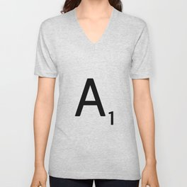 Letter A - Custom Scrabble Letter Wall Art - Scrabble A Unisex V-Neck