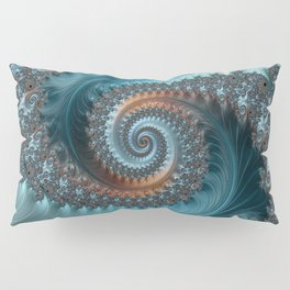Feathery Flow - Teal and Taupe Fractal Art Pillow Sham