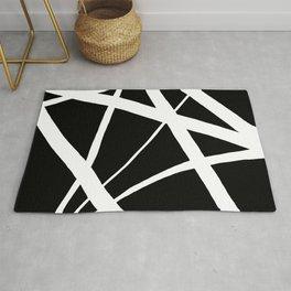 Geometric Line Abstract - Black White Rug