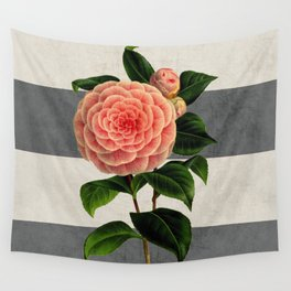 botanical stripes - camellia Wall Tapestry