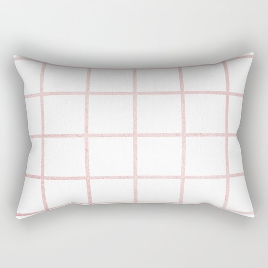 Simply Grid in Rose Gold Sunset Rectangular Pillow