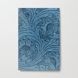 Cornflower Blue Tooled Leather Metal Print