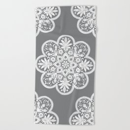 Floral Doily Pattern | Grey and White Beach Towel
