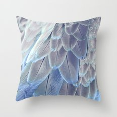 Silver Feathers Throw Pillow