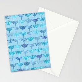 Hanukkah Chanukah Menorah Chanukkiah Pattern in Blue and Turquoise  Stationery Cards