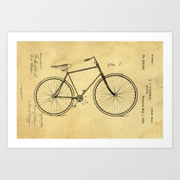 Bicyole Support Patent Drawing From 1894 Art Print